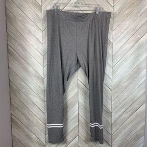 Gray leggings with white stripes